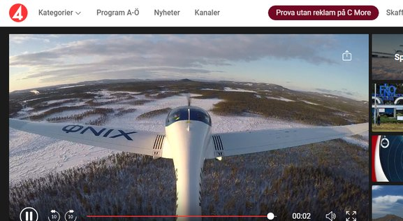 TV4 Historical test electric flight 2019